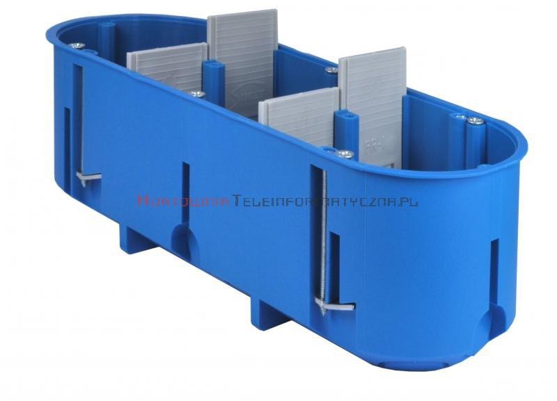 SIMET Puszka podtynkowa potrójna 60mm regips głęboka niebieska P3x60D