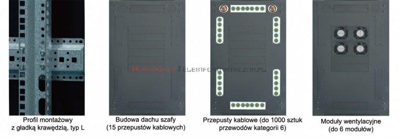 """TOTEN Szafa RACK 19"""" stojąca G7 27U 600x800mm, drzwi blacha/szkło szara"""