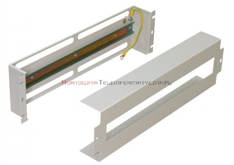 """Panel dystrybucji napięć RACK 19"""", 3U do montażu osprzętu na listwie TH35 DIN, szary"""