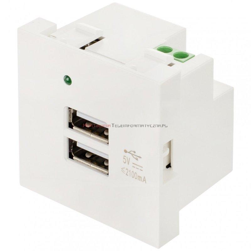 Moduł 2x USB Ładowarka 5V/2A MOSAIC 45x45 biały