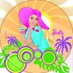Opłatek na tort okrągły Barbie on Island