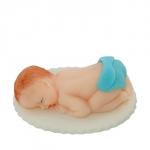 Figurka na tort BOBAS w pampersie chrzest baby shower niebieski