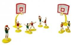 Zestaw na tort koszykówka koszykarze + kosze + boisko