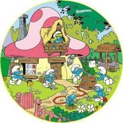 Kardasis - opłatek na tort okrągły Wioska Smerfów Latem