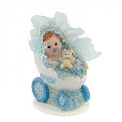 Hokus - Bobas w wózeczku niebieski - dekoracja tortu na chrzest