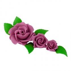 Zestaw cukrowe kwiaty na tort 3 RÓŻE z listkami WRZOSOWE