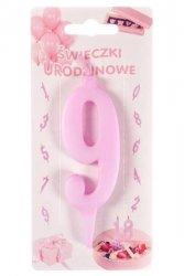 Różowa świeczka urodzinowa na tort cyfra 9