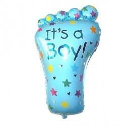 Balon foliowy - stópka IT'S A BOY! - niebieska 14