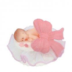 Figurka na tort BOBAS Z KOKARDĄ chrzest baby shower różowy