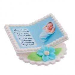 Tabliczka na chrzest niebieska KSIĄŻECZKA Z DZIECKIEM - dekoracja cukrowa na tort