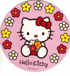 Kardasis - opłatek na tort okrągły Hello Kitty w kwiatach