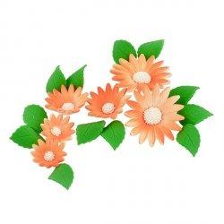 Zestaw cukrowe kwiaty na tort RUMIANEK z listkami HERBACIANY