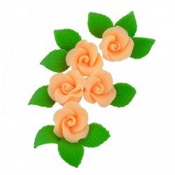 Zestaw cukrowe kwiaty 5x RÓŻA MAŁA z listkami HERBACIANA