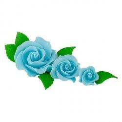 Zestaw cukrowe kwiaty na tort 3 RÓŻE z listkami NIEBIESKIE