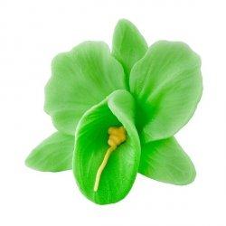 Storczyk kwiat cukrowy na tort 6cm zielony 1szt
