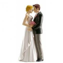 Figurka na tort ślub PARA MŁODA przytuleni 16cm