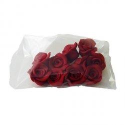 Cukrowe MINI RÓŻE różyczki bordowe 10szt