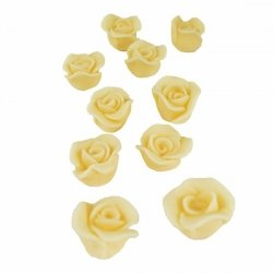 Cukrowe MINI RÓŻE różyczki ecru 10szt
