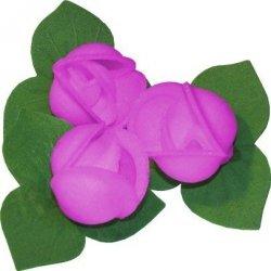 Róże z listkami opłatkowe - kompozycja 3 szt. fioletowe