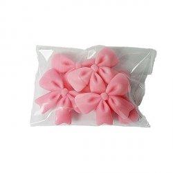 Kokardki cukrowe na tort 5szt różowe