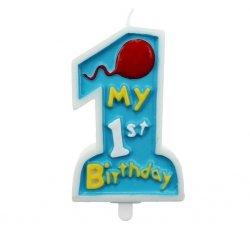 Świeczka na tort MY 1ST BIRTHDAY roczek niebieska