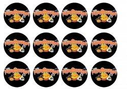 Opłatki waflowe na muffinki Halloween 6cm 12szt v8