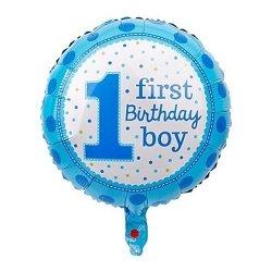 Balon foliowy - 1 FIRST BIRTHDAY BOY - niebieski 18