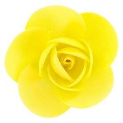Róża opłatkowa 5,5 cm żółta 3 szt.