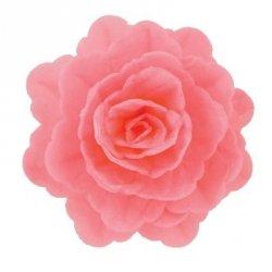 Róża chińska waflowa na tort duża (7cm) różowa 15szt