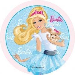 Opłatek na tort okrągły Barbie Błękitna 14,5 cm