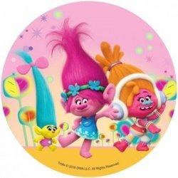 Opłatek waflowy okrągły na tort Trolle Trolls B
