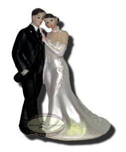 Dekoracja tortu ślubnego PARA MŁODA - PANI Z TRENEM