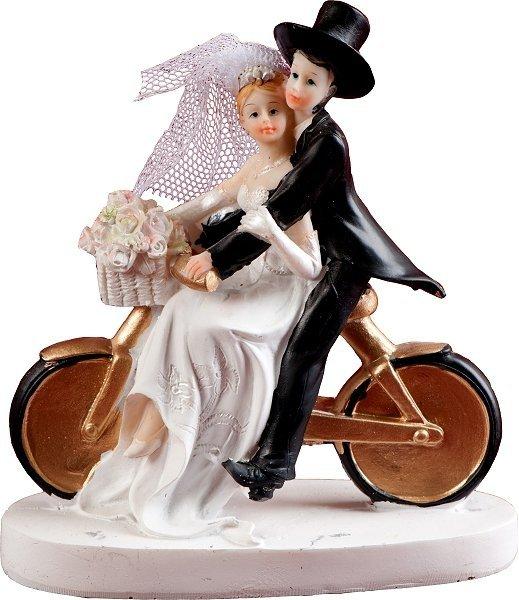 Figurka na tort ślub PARA MŁODA NA ROWERZE