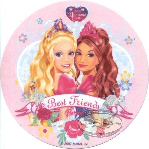 Kardasis - opłatek na tort okrągły BARBIE z Przyjaciółka