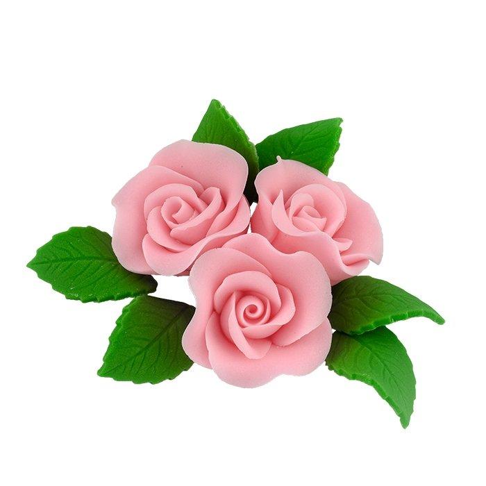 Zestaw cukrowe kwiaty na tort 3 ŚREDNIE RÓŻE z listkami RÓŻOWY