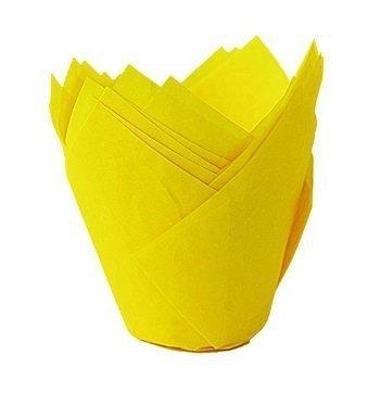 Papilotki na muffinki TULIPAN żółte 50 szt