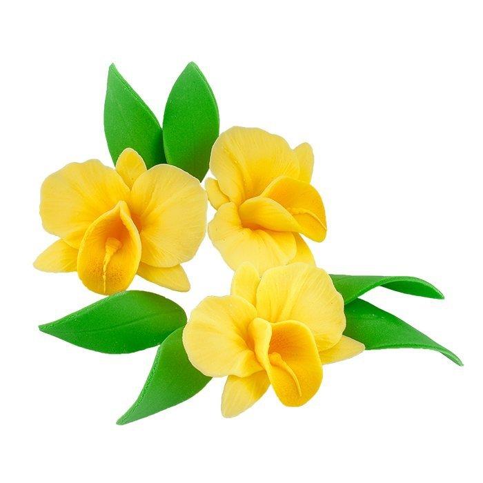 Zestaw cukrowe kwiaty na tort STORCZYK z listkami ŻÓŁTY