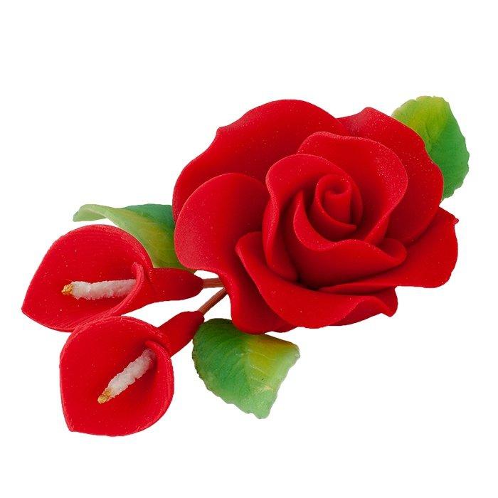 Zestaw cukrowe kwiaty RÓŻA MAX + KALIE z listkami CZERWONE