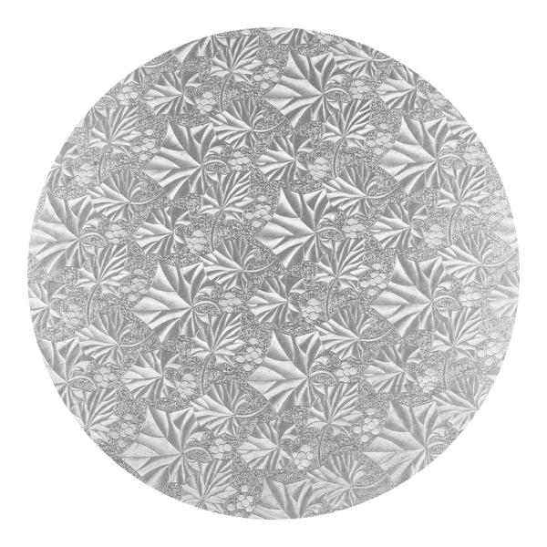 Podkład pod tort okrągły gruby 1,2cm SREBRNY 30cm (wzór liście)