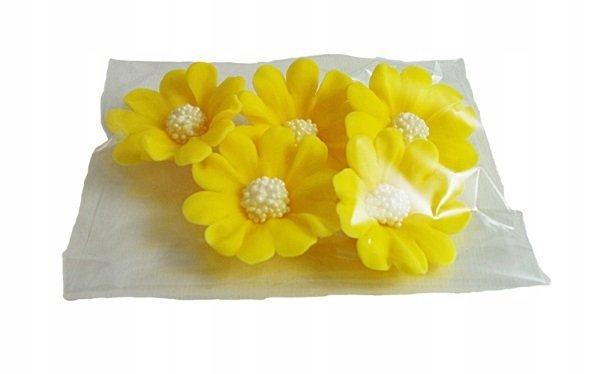 Kwiatki cukrowe na tort STOKROTKA 5szt żółte