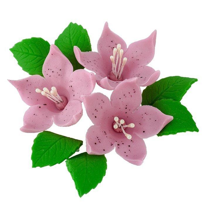 Zestaw cukrowe kwiaty na tort LILIJKA z listkami WRZOSOWA