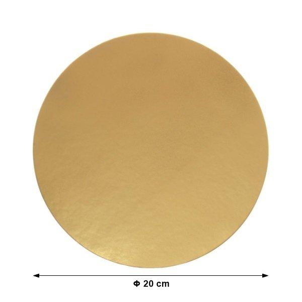 Podkład pod tort ZŁOTY gładki 20cm - 10 szt