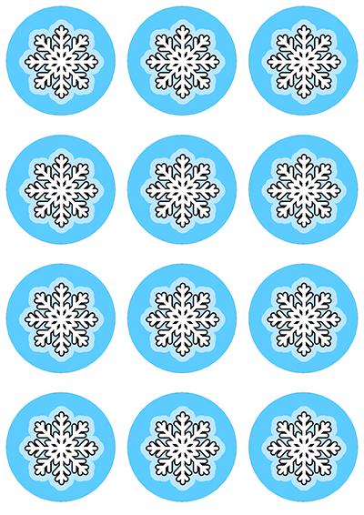 Opłatki waflowe na muffinki ŚWIĄTECZNE śnieżynki 6cm 12szt