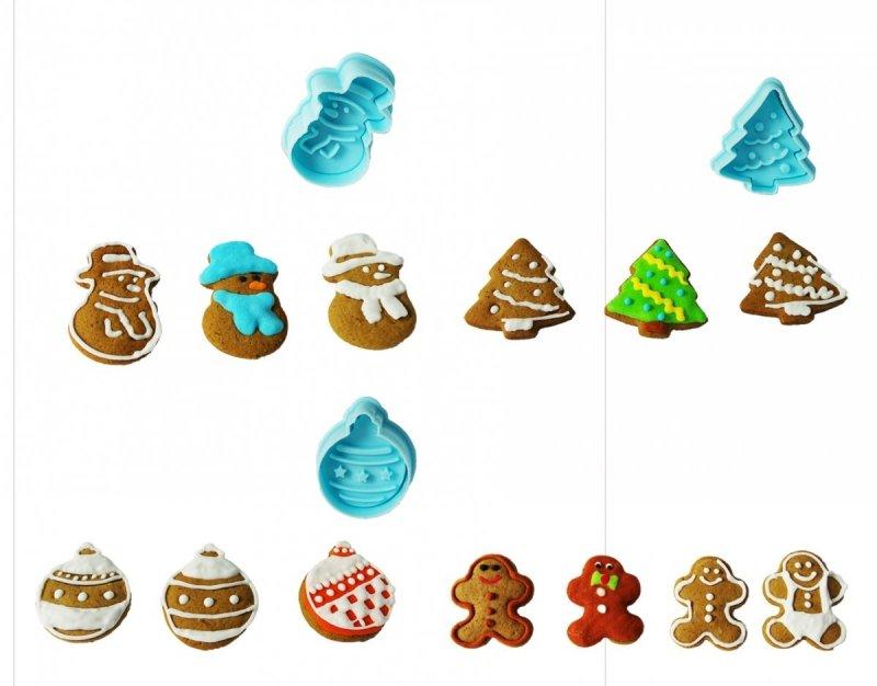 Wykrawacze z wypychaczem do lukru ciastek ŚWIĘTA 4szt