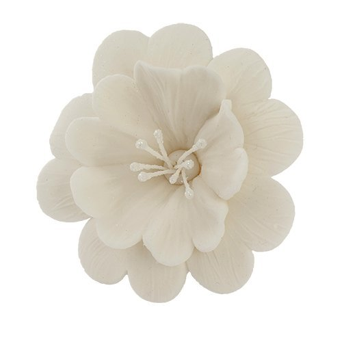FUKSJA kwiat cukrowy na tort 6,5cm BIAŁY 8szt