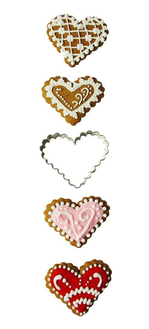 Wykrawaczka do ciastek  SERCE karbowane  - 4 szt
