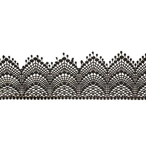 Cukrowa jadalna KORONKA do dekoracji tortu 120cm CZARNA 01