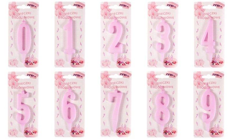 Różowa świeczka urodzinowa na tort cyfra 3