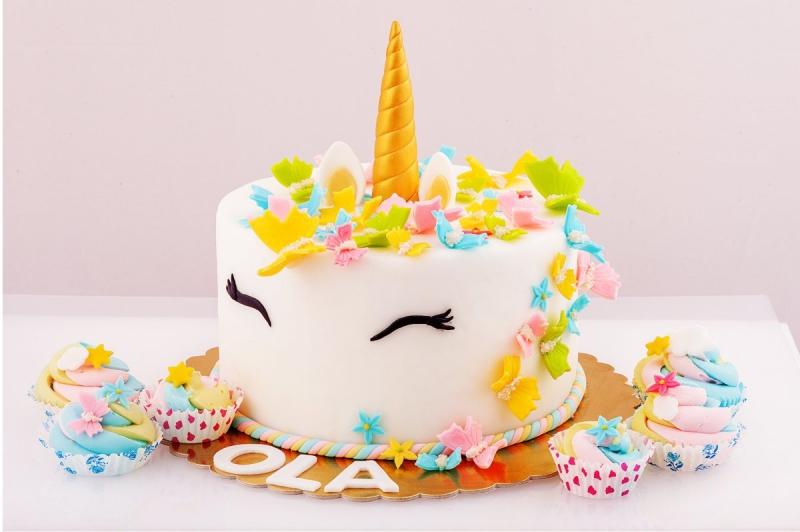 Cukrowy RÓG i uszy JEDNOROŻCA na tort ZŁOTY