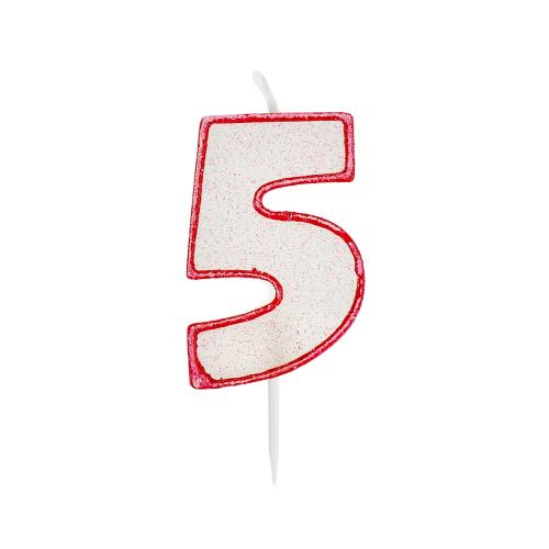 Świeczka urodzinowa na tort cyfra z brokatem 5